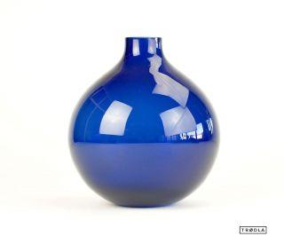 Blaue Kugel Vase Aus Glas Blumenvase 50 / 60er Bild
