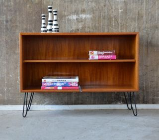 60er Teak Regal Standregal Danish 60s Teakwood Shelf Cabinet Eames Knoll ära Bild