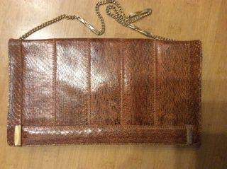 Handtasche Clutch 70er Jahre Braun Genarbt Leder Bild