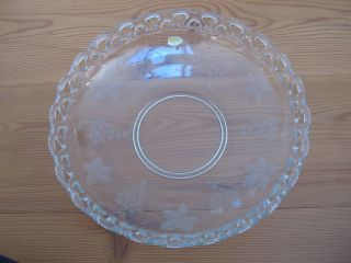 Gr.  Schale Obstschale Glas Mit Weinlaub Handgeschliffen Alt Bild