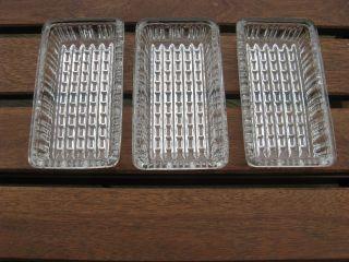 3x Servierschale Eckig Kristallglas,  Dessertschale Servierplatte Retro Vintage Bild