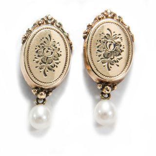 Biedermeier Um 1860: Gravierte Ohrringe Aus 585 Gold & Perlen,  Schaumgold Bild