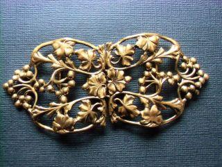 Antike Florale Jugendstil Gürtelschließe Gürtelschnalle Feuervergoldet Bild