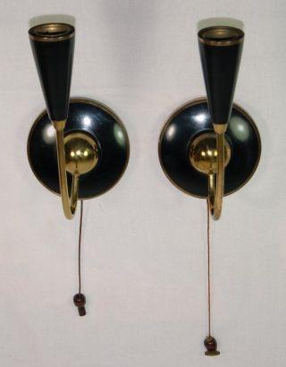 1 Paar Designer Wandlampen Stilnovo 50er Jahre - Messing Vergoldet 40 Watt Bild
