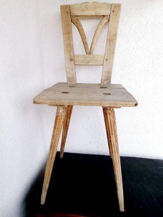 Bauernstuhl Holz Massiv,  Verziert,  Shabby Deko,  Antik Vor 1900,  Landhaus Stuhl Bild