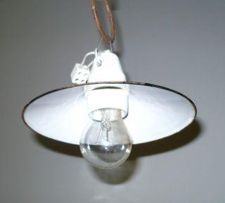 1of Antik Deckenleuchte Emaille Schirm Lampe Bauhaus Art Deco Design Loft 1920 Bild