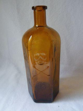 Seltene Alte Grosse Apothekerflasche Giftflasche Totenkopf 1000ml Flasche Rar Bild