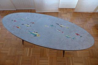 Couchtisch Mosaiktisch Oval 60er/70er Jahre Mit Maritimen Motiv Bild