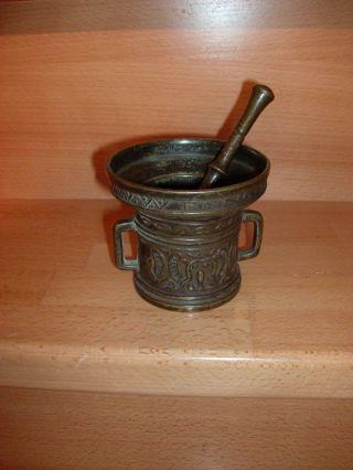 Antik Mörser Messing Bronze Stößel Pistil Apotheke Deko Niette Verwin Bild
