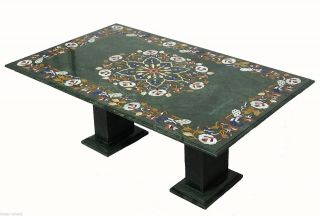 122x76 Cm Pietra Dura Couchtischtisch Florentiner Mosaik Table Afghanistan Green Bild