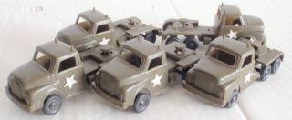 5 Alte Us Armee Lastwagen Zugmaschine Manurba / Jean Plastikauto Us Army Trucks Bild