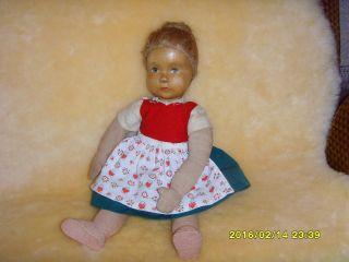 Ältere Krahmer Holzkopf - Puppe,  Etwa 1950,  Bespielt Bild