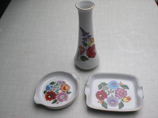 Kalocsa Hungary Handpainted Porzellan Schalen Und Vase Vintage Bild