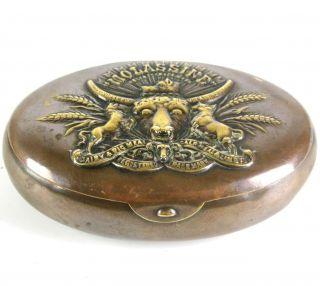 Jugendstil Metall Dose Tabakdose Usa Ca.  1910 Art Nouveau Tobacco Case Rare Bild