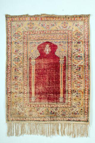 Ein Antiker Ghiordes Gebetsteppich In Seide Vor 1900.  (türkei,  Anatolien) Bild