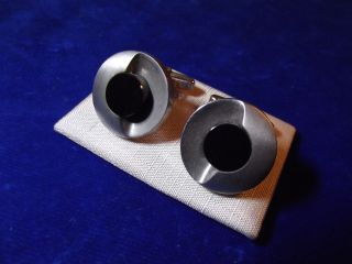 Manschettenknöpfe 835 Silber Mit Onyx Vintage 70er Jahre Space Age Bild