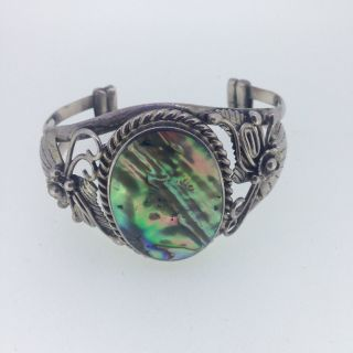 Jugendstil Armband Armreif 925er Silber Perlmutt Stein Bild