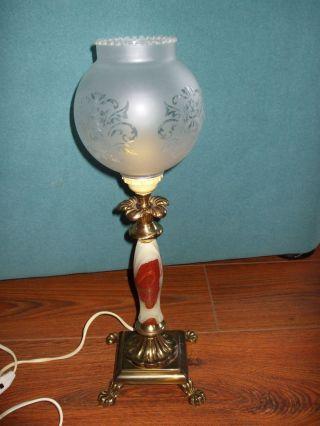 Tischlampe Antik Ital.  Jugendstil Alabaster Messing Bakelit Stecker Bild