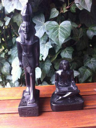 """Top / 2 Massive,  ägyptische Figuren """"pharao"""",  Schwarz,  23,  5/10,  5 Cm Bild"""