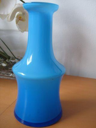Holmegaard Kristallglas Vase 21 Cm Hoch Hellblau Überfang Innen Weiß Bild