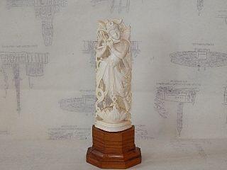 Antike Bein Figur China Um 1900 Auf Holz Sockel Sehr Fein Bild