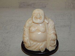 Antike Bein Buddha China Um 1880 Auf Holz Sockel Signiert Sehr Fein Bild