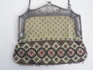 Ak22 - Damen - Handtasche Mit Perlenstickerei Wmf Straussenmarke Reines Jugendstil Bild