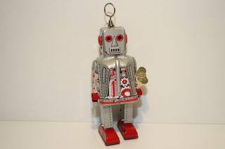 Blechspielzeug Roboter Space Robot Silber Uhrwerk Bild