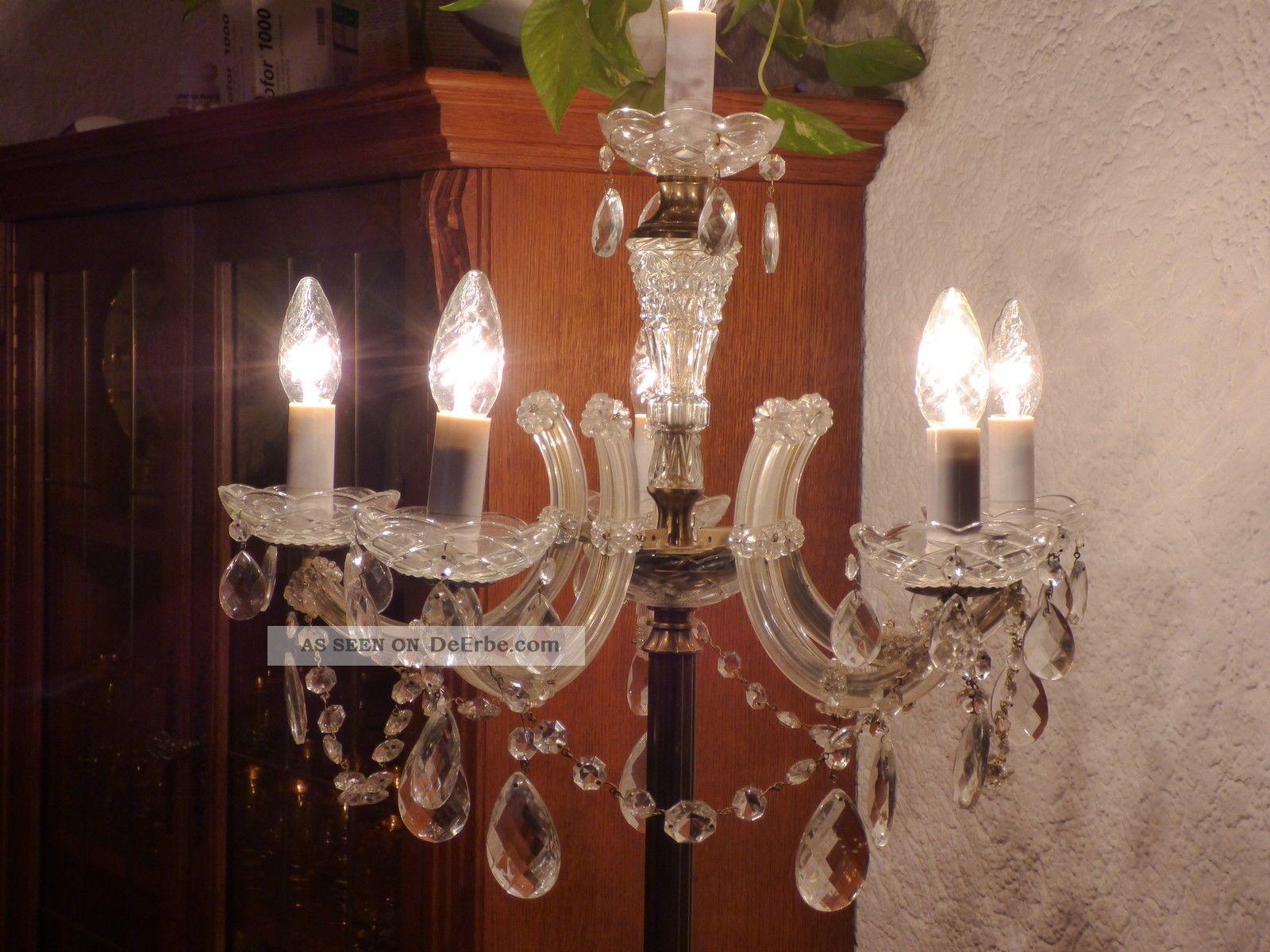 Wunderschone Antike Messing Kristall Stehlampe 6 Flammig