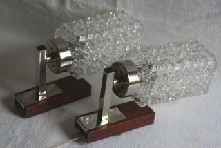 Wandleuchten 2 Stück Originale 70 Er Jahre Glas Wandlampen Vintage Lampe Bild