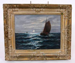 Romantische Seeszene Mit Schöner Rahmung 57 X 48cm Bild