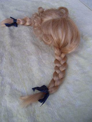 Alte Puppenteile Blonde Zoepfe Lang Haar Perücke Vintage Doll Hair Wig 40cm Girl Bild