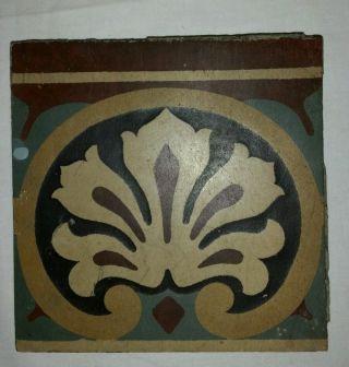 Otto Kaufmann Niedersedlitz,  Bodenfliese,  Um 1900,  Art Nouveau Tile,  Jugendstil Bild