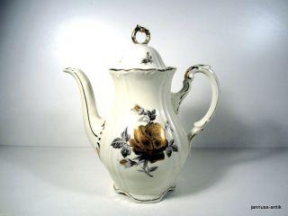 Große Kaffeekanne Von Oskar Schaller & Co 27 Cm Goldene Rose Elfenbein Um 1910 Bild