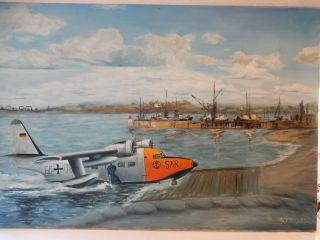 ÖlgemÄlde,  Albatros Sar Hu - 16b,  60,  06 Wasserflugzeug Mfg 5 Kiel Holtenau Bild