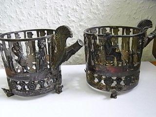 Alte 2 Teeglashalter Szene Figuren Bild