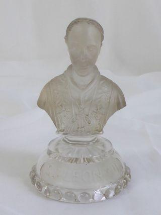 Pressglas Büste Papst Leo Viii.  1930,  Säure - Mattiert,  Frankreich ? Bild