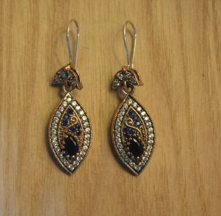 Antik Ohrstecker Ohrringe Silber Handarbeit 925 Mit Gold Earrings Orecchin. , Bild