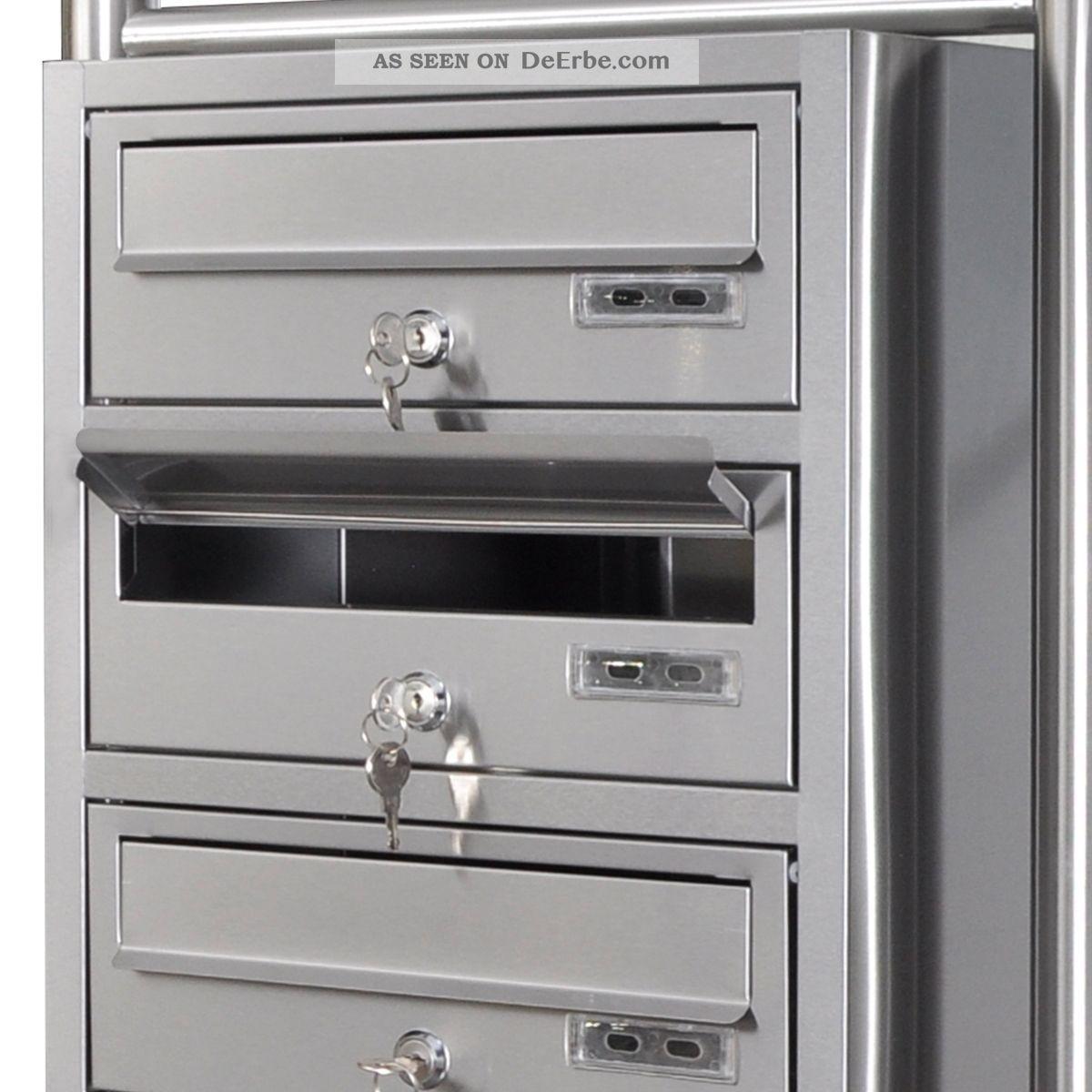 edelstahl 4 f cher briefkastenanlage standbriefkasten briefkasten postkasten. Black Bedroom Furniture Sets. Home Design Ideas
