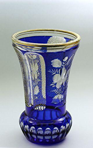 Pokalglas Ranftbecher Überfangvase Böhmen 20er - Jahre Schliff Vergoldung Bild