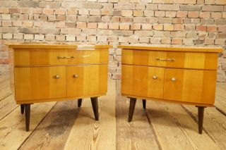 50er Rockabilly 2x Nachttisch Bedside Table Mini Sideboard Kommode Mid Century Bild