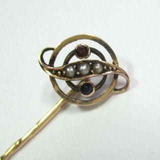 831 - Antike Krawattennadel Rotgold 585 Rubin Saphir Saatperlen - - Video - 1911 - Bild