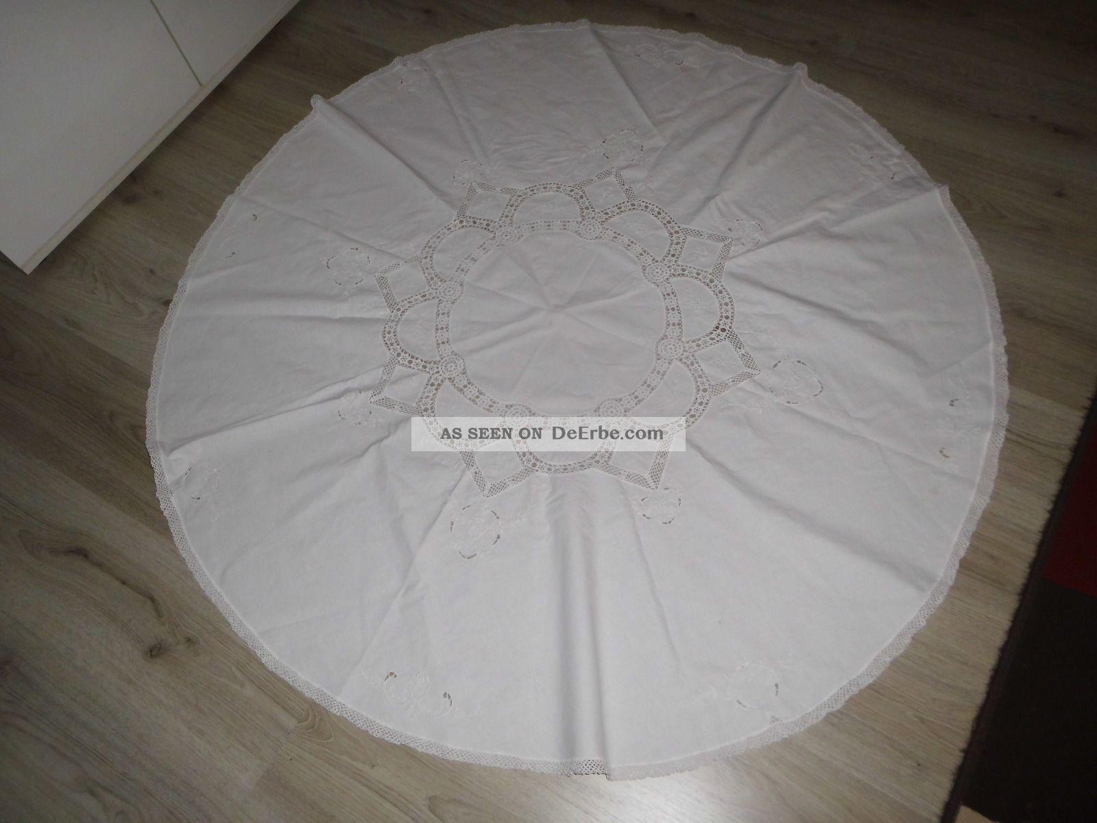 alte tischdecke handarbeit mit stickerei rund. Black Bedroom Furniture Sets. Home Design Ideas