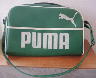 Sporttasche Tasche Puma - - 80s 80er - - Grün Weiß - - Selten - - Vintage Bild
