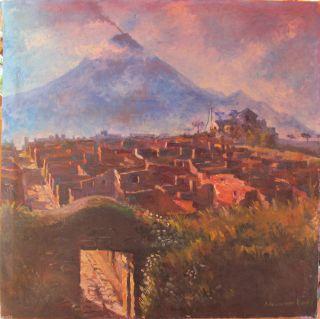 Pompeji Vesuv Neapel Altes Ölgemälde Sign.  Adrian Van Hees Dr.  Gerlach Bild