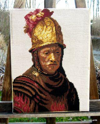 Altes Wandbild Gobelin Handarbeit Der Mann Mit Dem Goldhelm Edel Und Wertvoll Bild