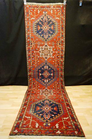 Alter Antiker Heriz Läufer Orient Teppich 340x98 Kazak Tappeto Rug 5759 Carpet Bild