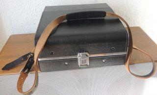 Antike Tasche / Koffer Für Slr Kamera - Schwarz Leder / Innen Rot Bild