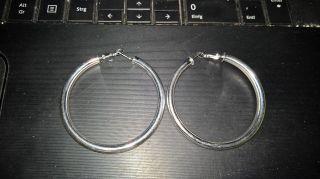 Paar Runde 925 Silber Ohrringe Ohrschmuck Creolen Bild