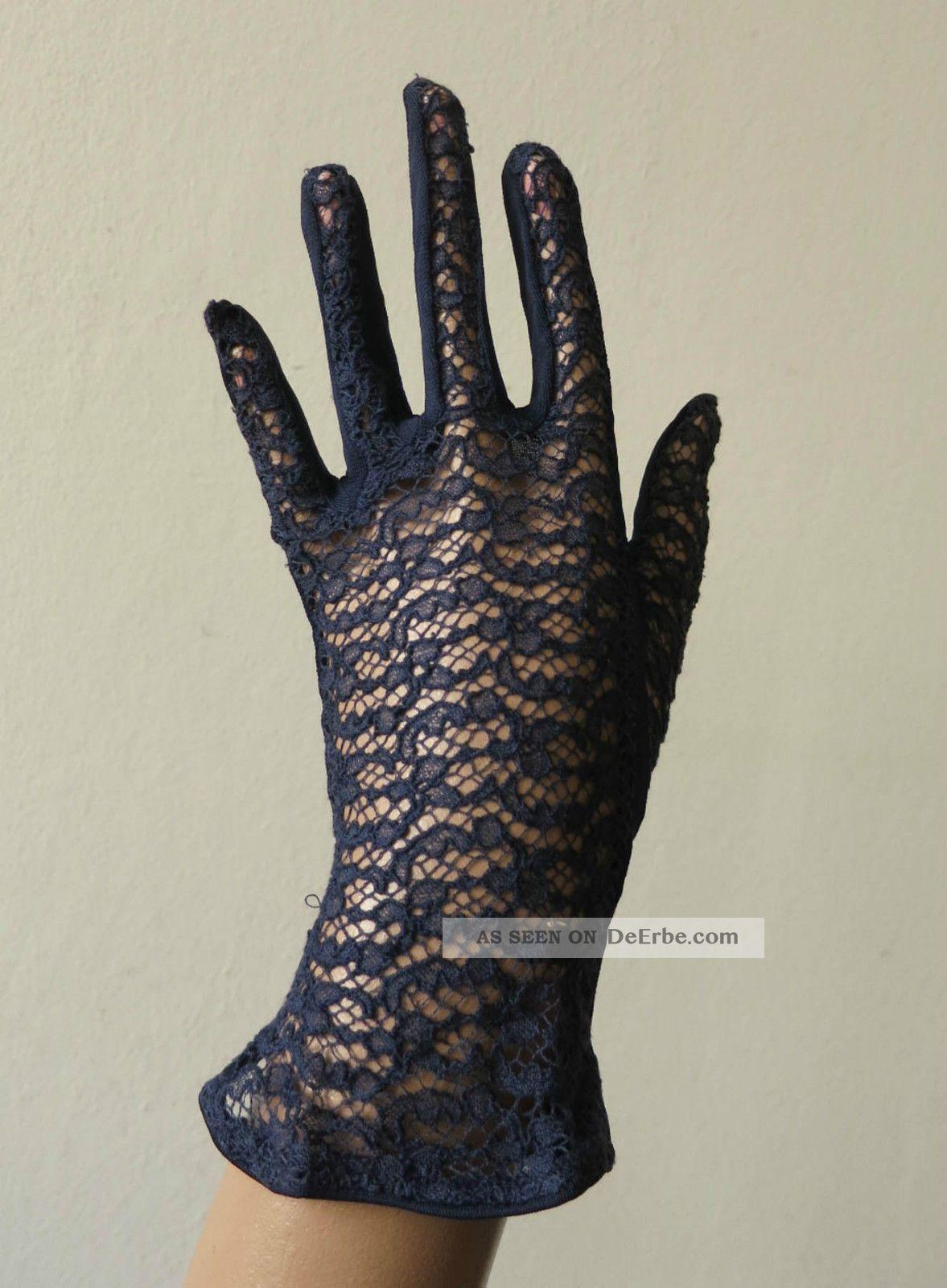 damen abend handschuhe navy blau spitze true vintage 40er 50er jahre. Black Bedroom Furniture Sets. Home Design Ideas